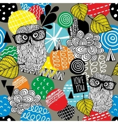 Seamless pattern with cute doodle owls and design vector image vector image