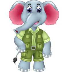 sweet elephant cartoon posing with smiling vector image