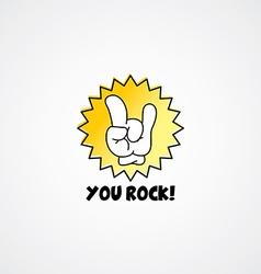 you rock cartoon gesture hand sign vector image