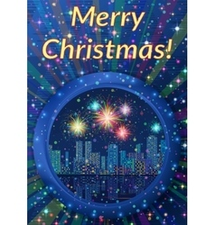 Background with Christmas Night City vector image vector image