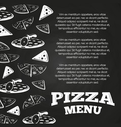 chalkboard pizza menu poster - fast food banner vector image
