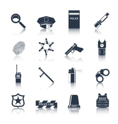 Police icons set black vector image