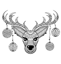 Zentangle Reindeer face with chriatmas vector image vector image