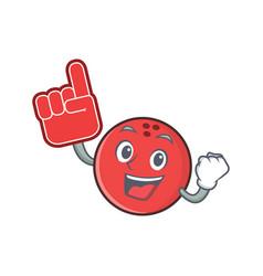 Foam finger bowling ball character cartoon vector