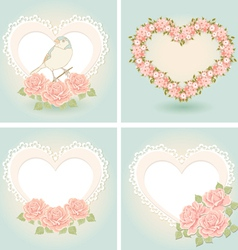 Greeting cards with heart shape vector image vector image