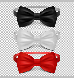 realistic white black and red bow tie isolated on vector image vector image