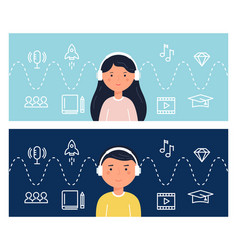 students learning through podcasts and webinars vector image vector image