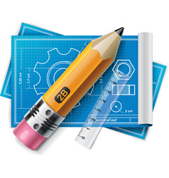 technical drawing xxl icon vector image vector image