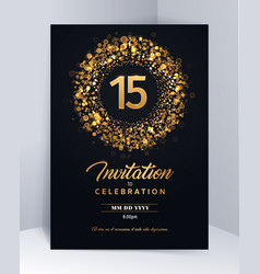 15 years anniversary invitation card template vector image