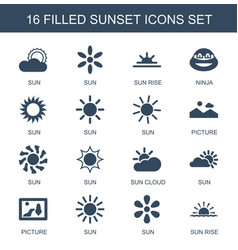 16 sunset icons vector