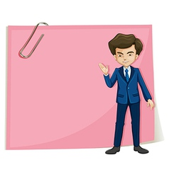 A businessman in front of the empty pink signage vector image