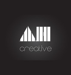 ah a h letter logo design with white and black vector image