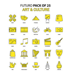 Art and culture icon set yellow futuro latest vector