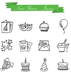 Art of New Year icons object vector