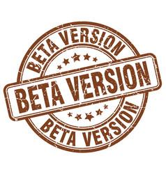 Beta version brown grunge stamp vector