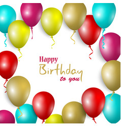 birthday card with colorful balloons in vector image