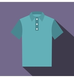 Blue polo shirt icon flat style vector
