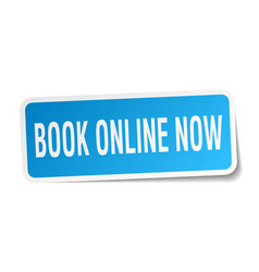 Book online now square sticker on white vector