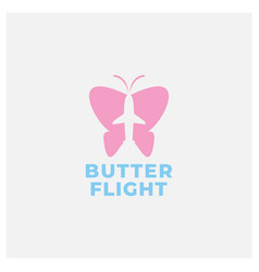 Butterfly and airplane logo design vector