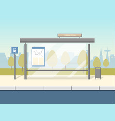 cartoon bus stop card poster vector image