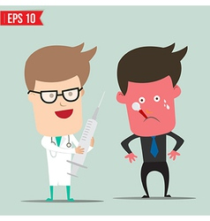 Cartoon Doctor using syringe - - EPS10 vector image