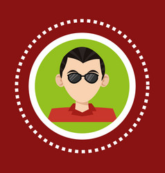 Character man business glasses social media vector