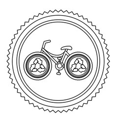 circular frame contour with bike with recycling vector image