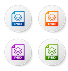 color psd file document icon download psd button vector image