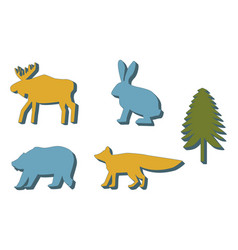 Color silhouettes animals and fir vector