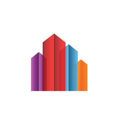 colorful real estate building logo design concept vector image