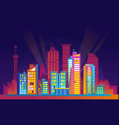 Colorful urban night cityscape vector
