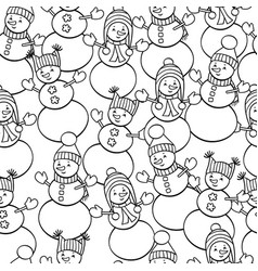 Coloring page with snowmen seamless pattern vector