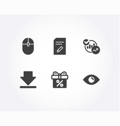 Computer mouse downloading and statistics icons vector