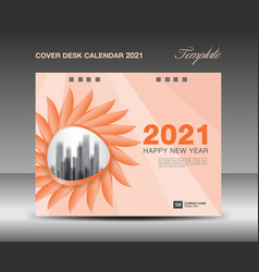 cover desk calendar 2021 template design vector image