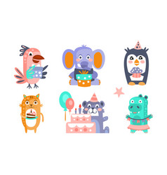 cute cartoon animal characters set childish vector image