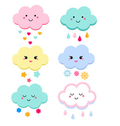 Cute clouds for kids isolated vector