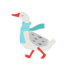 Cute white goose cartoon character walking with vector