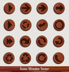 Dark wooden icon set with different signs vector image