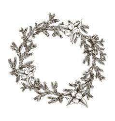 decorative wreath made of branches and cones vector image