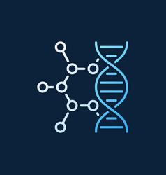 Dna with molecule colorful outline icon or vector