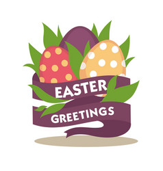 Easter greetings conceptual banner spring flowers vector