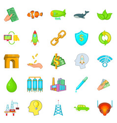 Ecology care icons set cartoon style vector