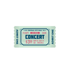 entry ticket to music show in concert hall isolate vector image