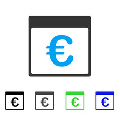 Euro currency calendar page flat icon vector