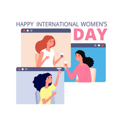 female festive time girls friends womens day vector image