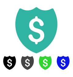 financial shield flat icon vector image