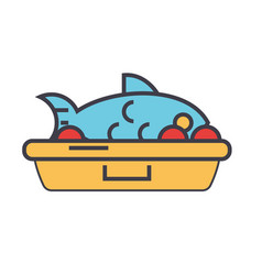 Fried fish food concept line icon vector