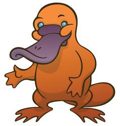 Funny cute cartoon platypus or duckbill vector
