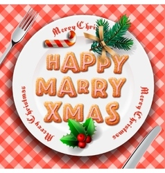 Gingerbread cookie on the plate Christmas dinner vector