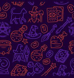 Halloween items seamless pattern mystery vector